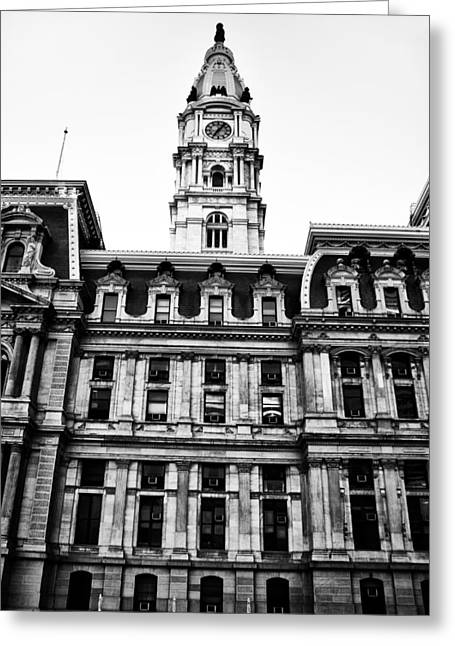 City Hall Greeting Cards - City Hall Philadelphia - Black and White Greeting Card by Bill Cannon