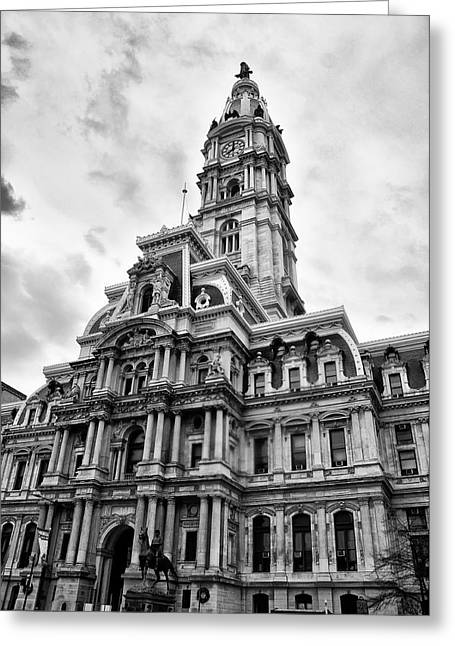 City Hall Digital Art Greeting Cards - City Hall - Philadelphia in Black and White Greeting Card by Bill Cannon