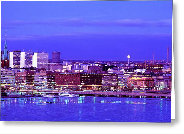 Brightly Lit Greeting Cards - City Hall, Stockholm, Sweden Greeting Card by Panoramic Images