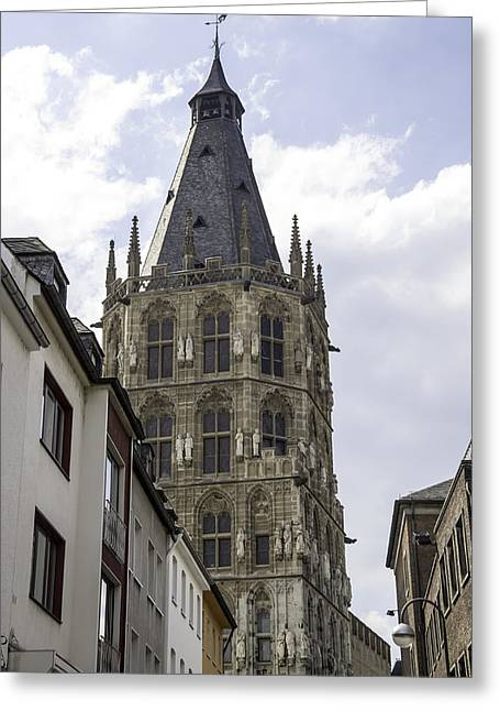 Self Confidence Greeting Cards - City Hall Tower Cologne Germany Greeting Card by Teresa Mucha
