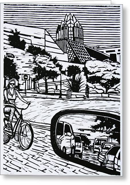 Linoleum Block Print Greeting Cards - City Hall Greeting Card by William Cauthern
