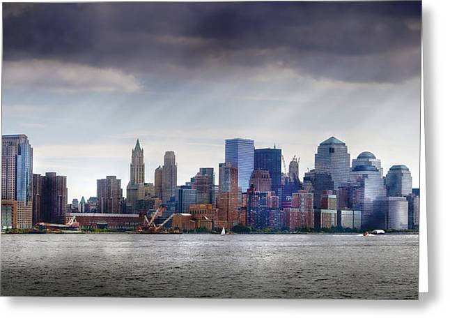 Ocean Panorama Greeting Cards - City - Hoboken NJ - New York City - PANO Greeting Card by Mike Savad