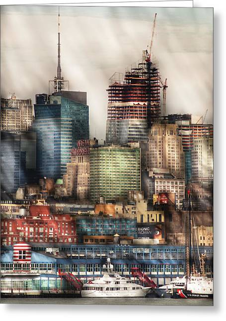 City - Hoboken Nj - New York Skyscrapers Greeting Card by Mike Savad