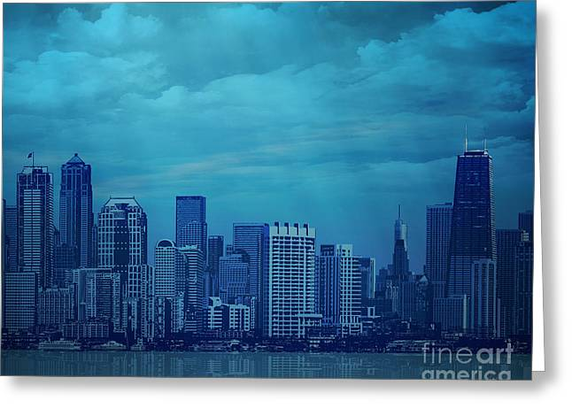 Fog Mixed Media Greeting Cards - City In Blue Greeting Card by Bedros Awak