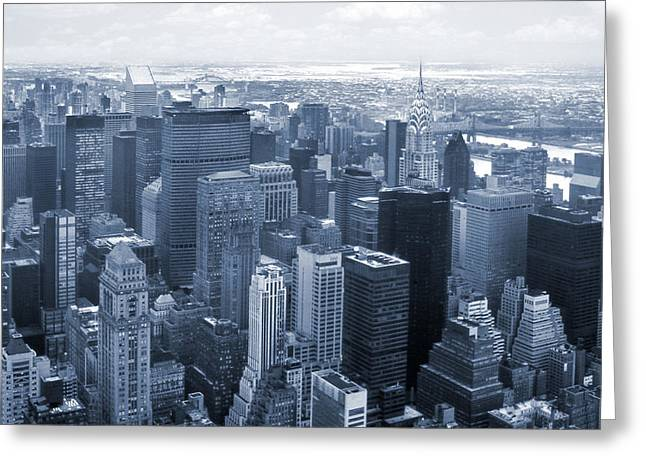Chrysler Building Digital Art Greeting Cards - City In Blue Greeting Card by Mike McGlothlen