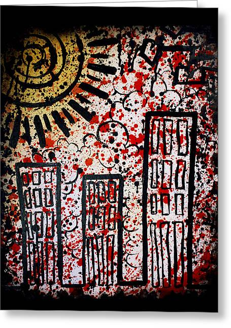 Web Of Life Paintings Greeting Cards - Chemical Reign Greeting Card by Josh Brown