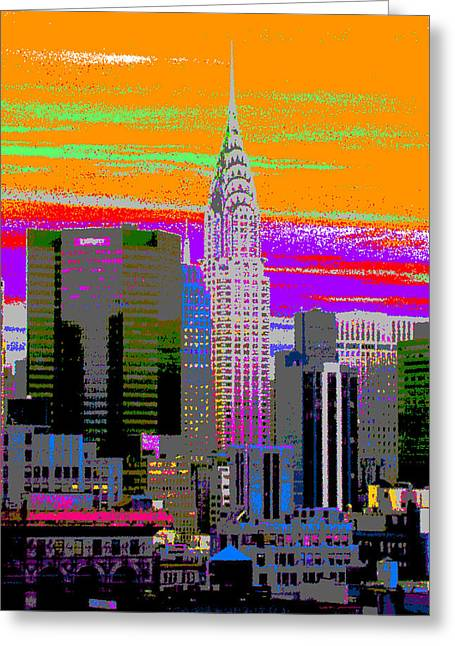 Local Mixed Media Greeting Cards - New York City Skyline In Orange Greeting Card by Habib Ayat