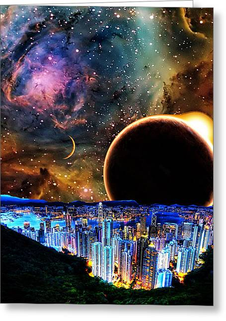 Intergalactic Space Greeting Cards - City in Space Greeting Card by Bruce Iorio