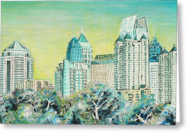 Midtown Paintings Greeting Cards - City in the Trees Greeting Card by Natalie Huggins