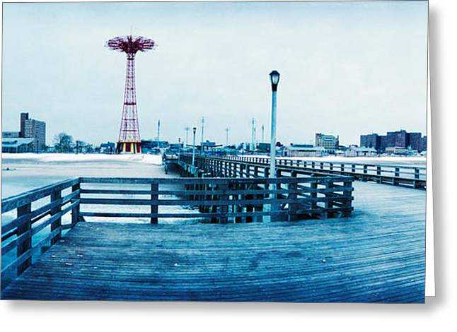 Snow New York City Greeting Cards - City In Winter, Coney Island, Brooklyn Greeting Card by Panoramic Images