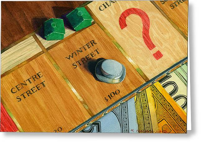 Monopoly Greeting Cards - City Island Monopoly IV Greeting Card by Marguerite Chadwick-Juner