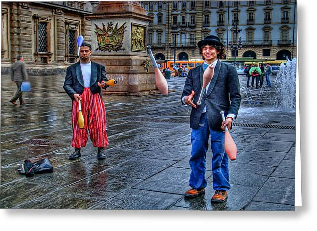 Twitter Greeting Cards - City Jugglers Greeting Card by Ron Shoshani