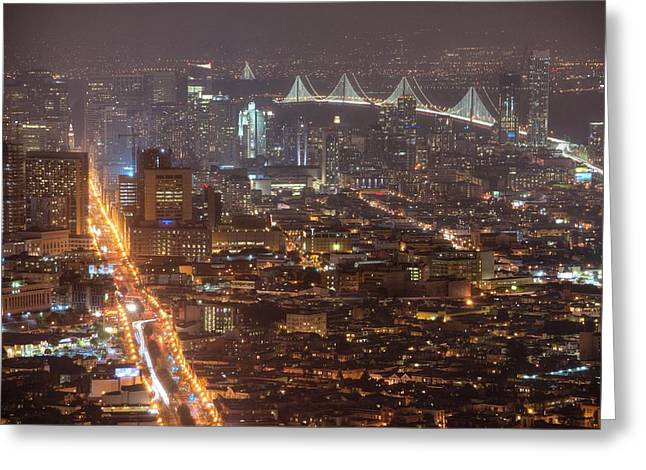 Sel Greeting Cards - City lava Greeting Card by Peter Thoeny