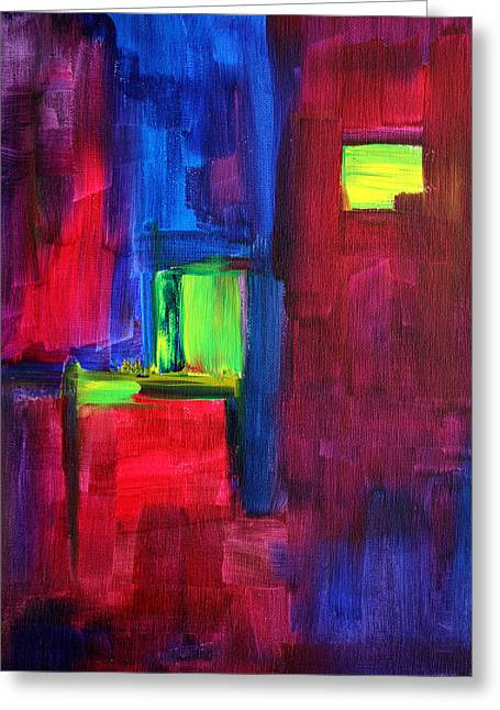 Rectangles Greeting Cards - City Life Abstract Greeting Card by Nancy Merkle