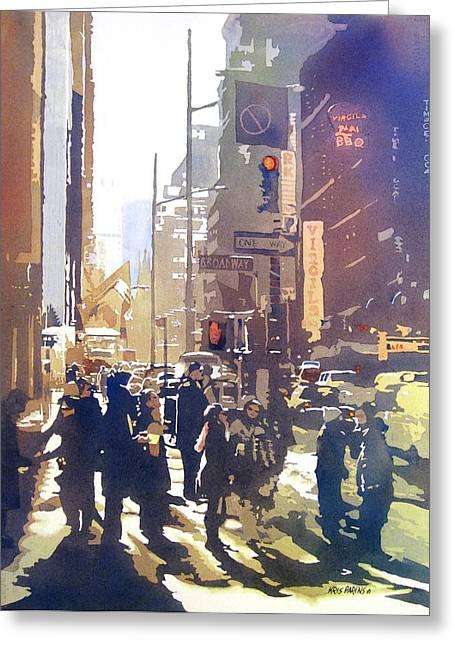 Midtown Paintings Greeting Cards - City Light Greeting Card by Kris Parins