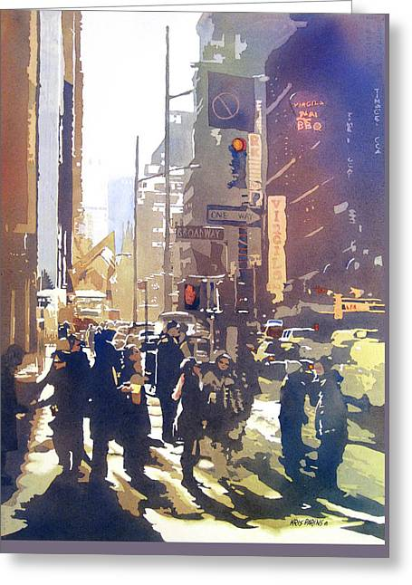 Midtown Paintings Greeting Cards - City Light Greeting Card by Kris Parins