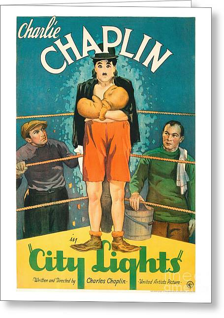 Chaplin Poster Greeting Cards - City Light Movie Poster - Chaplin Greeting Card by MMG Archive Prints