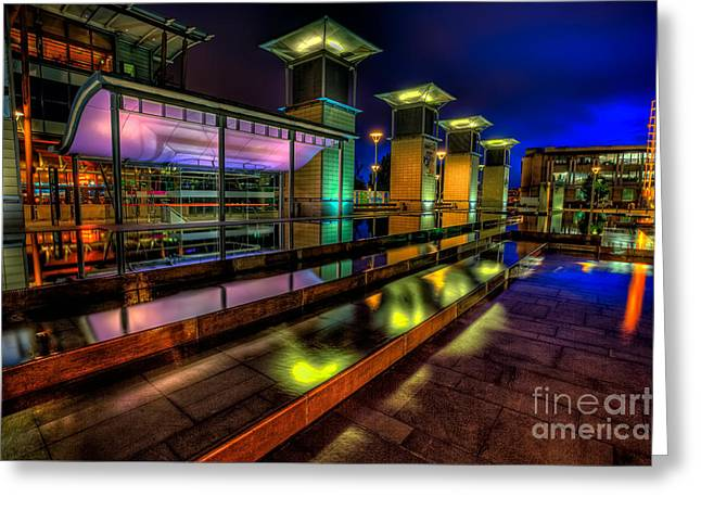 Blue Hour Greeting Cards - City Lights Greeting Card by Adrian Evans