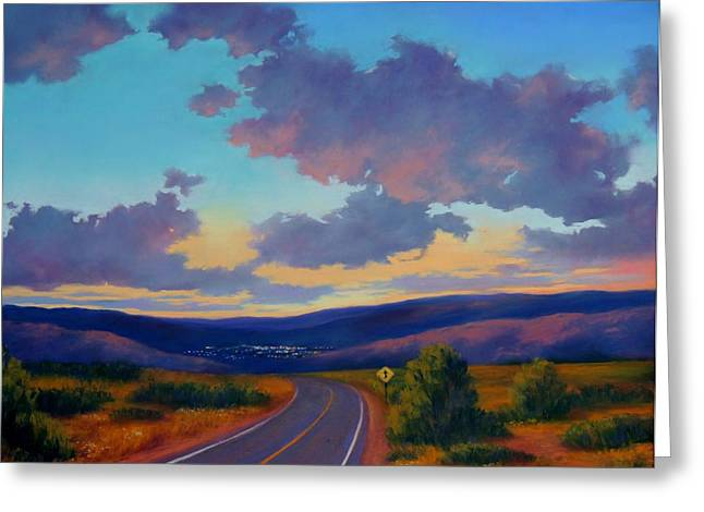 Road Trip Pastels Greeting Cards - City lights Ahead Greeting Card by Candice Ferguson
