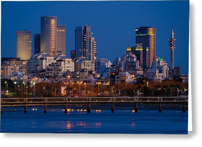 Miztvah Greeting Cards - city lights and blue hour at Tel Aviv Greeting Card by Ron Shoshani