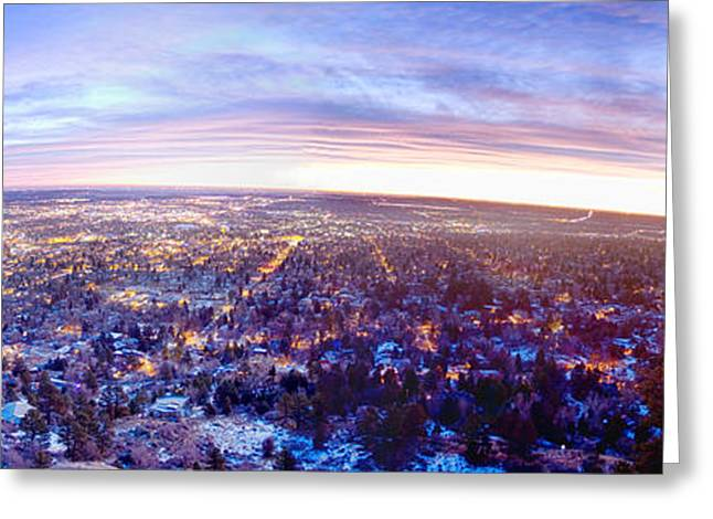 University Of Boulder Colorado Greeting Cards - City Lights Boulder Colorado Panorama Sunrise Greeting Card by James BO  Insogna