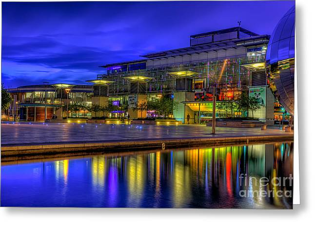 Blue Hour Greeting Cards - City Lights @Bristol Greeting Card by Adrian Evans