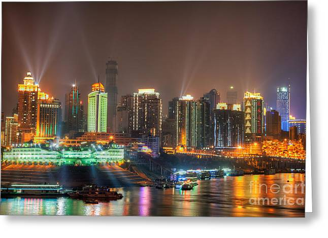 Developing Countries Greeting Cards - City lights of Chongqing skyline Greeting Card by Fototrav Print