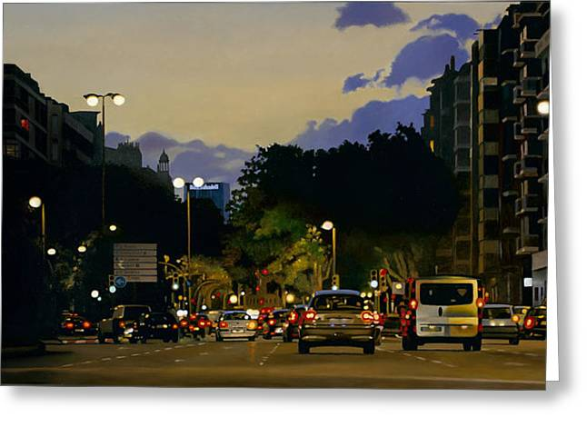 Driving Greeting Cards - City Lights Oil On Canvas Greeting Card by Joan Longas