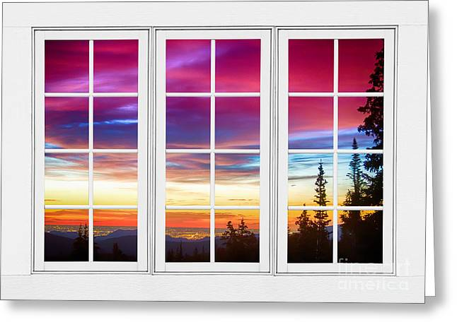 Cafe City Lights Greeting Cards - City Lights Sunrise View Through White Window Frame Greeting Card by James BO  Insogna