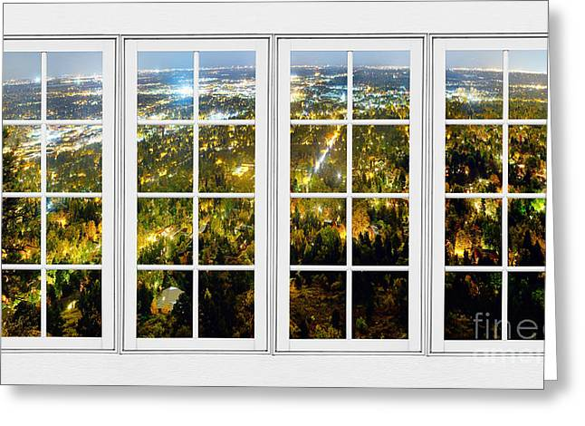 Cafe City Lights Greeting Cards - City Lights White Window Frame View Greeting Card by James BO  Insogna