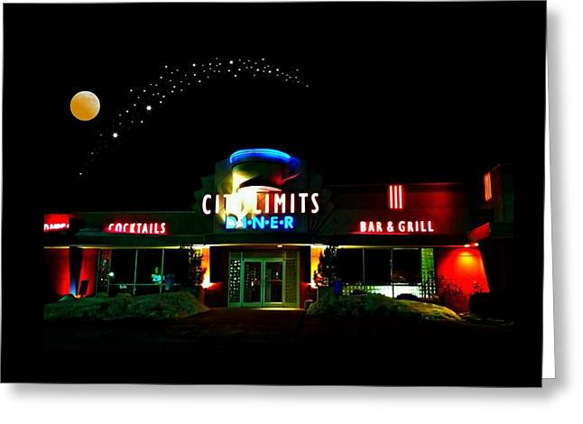 Local Restaurants Greeting Cards - City Limits Diner Under Stars Greeting Card by Diana Angstadt
