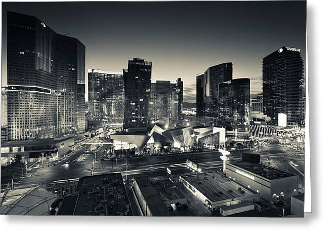 Evening Scenes Greeting Cards - City Lit Up At Dusk, Citycenter Las Greeting Card by Panoramic Images