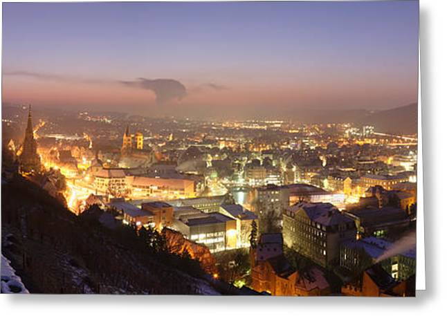 Night Scenes Greeting Cards - City Lit Up At Night, Esslingen Greeting Card by Panoramic Images