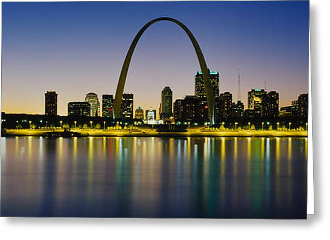 Mississippi River Scene Greeting Cards - City Lit Up At Night, Gateway Arch Greeting Card by Panoramic Images