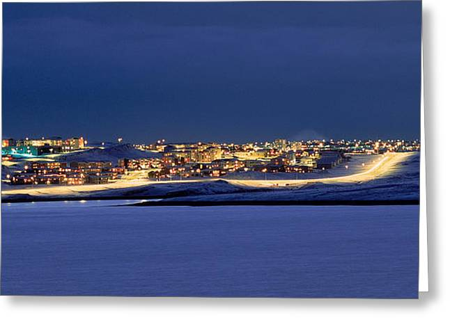 Winter Night Greeting Cards - City Lit Up At Night, Grafarvogur Greeting Card by Panoramic Images