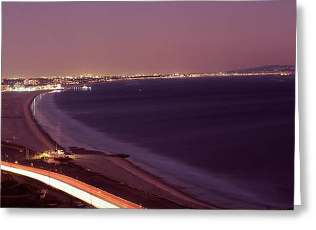 Los Angeles Freeways Greeting Cards - City Lit Up At Night, Highway 101 Greeting Card by Panoramic Images