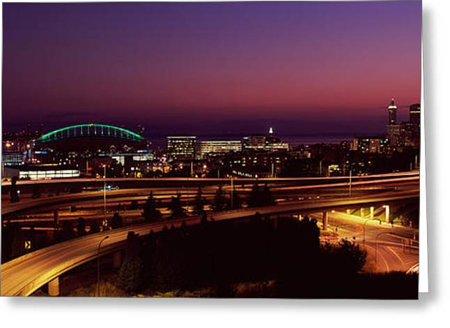 Illuminate Greeting Cards - City Lit Up At Night, Seattle, King Greeting Card by Panoramic Images