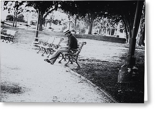 Empty Park Bench Greeting Cards - City Lonesome Greeting Card by Karol  Livote