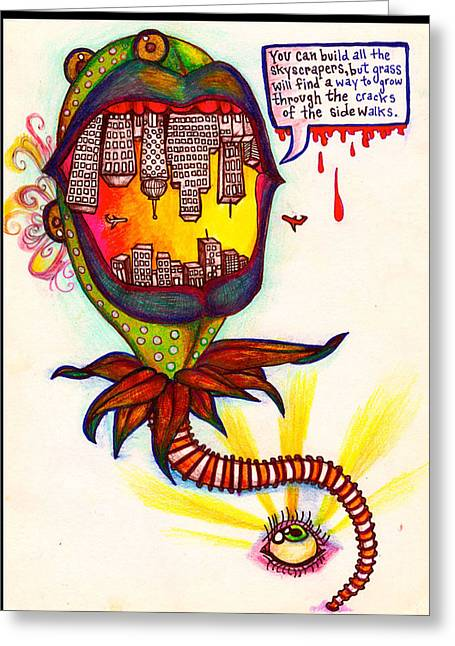 Surreal Landscape Drawings Greeting Cards - City Monster Greeting Card by Helen Harcharek