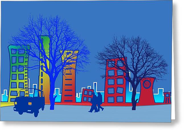 Steer Greeting Cards - City Greeting Card by Mountain Dreams