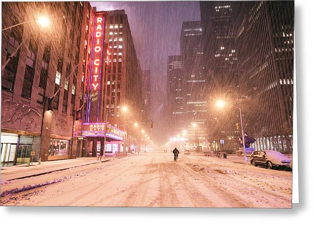 Hall Greeting Cards - City Night in the Snow - New York City Greeting Card by Vivienne Gucwa