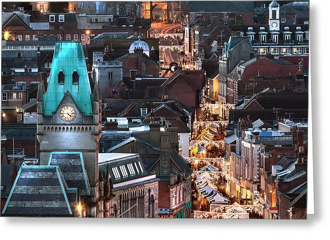 High Street Greeting Cards - City night view at Christmas Greeting Card by Simon Bratt Photography LRPS