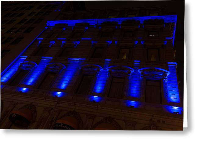 Lintel Greeting Cards - City Night Walks - Blue Highlights Facade Greeting Card by Georgia Mizuleva