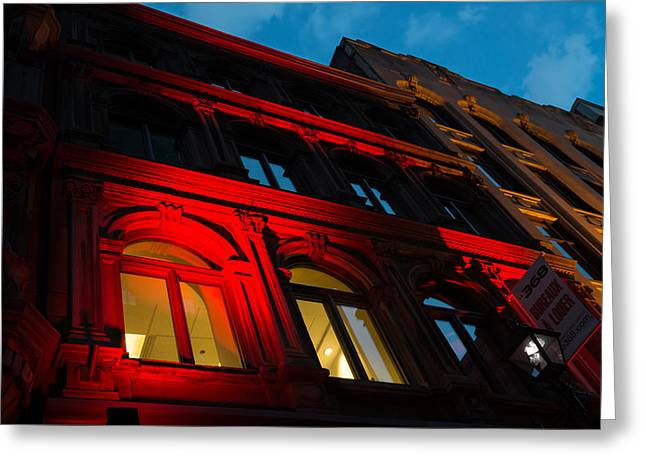 Lintel Greeting Cards - City Night Walks - Bright Red Facade Greeting Card by Georgia Mizuleva