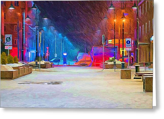 Texture Snow Scapes Greeting Cards - City Night Winter Greeting Card by Yury Malkov