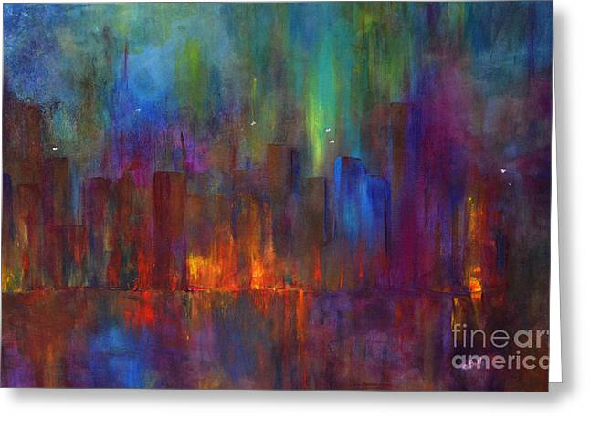 Claire Bull Greeting Cards - City Nights Greeting Card by Claire Bull