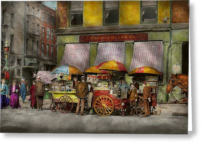 Hot Dog Stand Greeting Cards - City - NY- Lunch carts on Broadway St NY - 1906 Greeting Card by Mike Savad