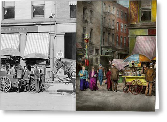 Hot Dog Stand Greeting Cards - City - NY - Lunch carts on Broadway St NY - 1906 - Side by side Greeting Card by Mike Savad