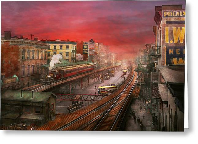 Colorization Greeting Cards - City - NY - Rush hour traffic - 1900 Greeting Card by Mike Savad