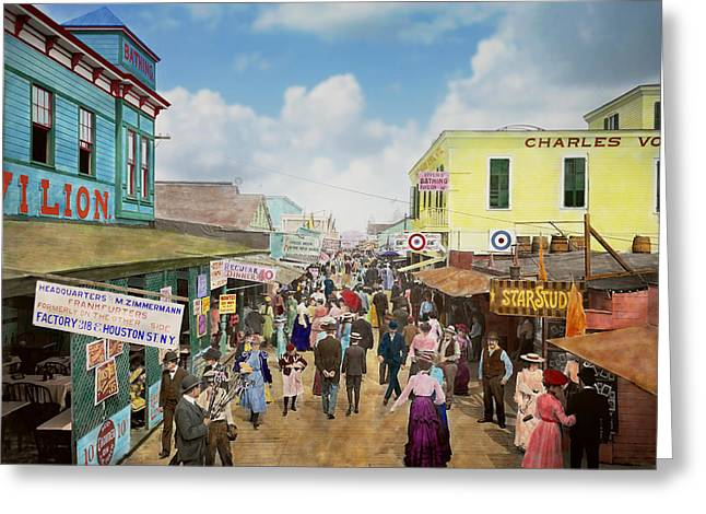 Hotdogs Greeting Cards - CITY - NY - The Bowery 1900 Greeting Card by Mike Savad